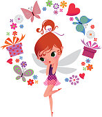 Elf surrounded by gifts, flowers and butterflies. RGB, EPS10. Use transparency.