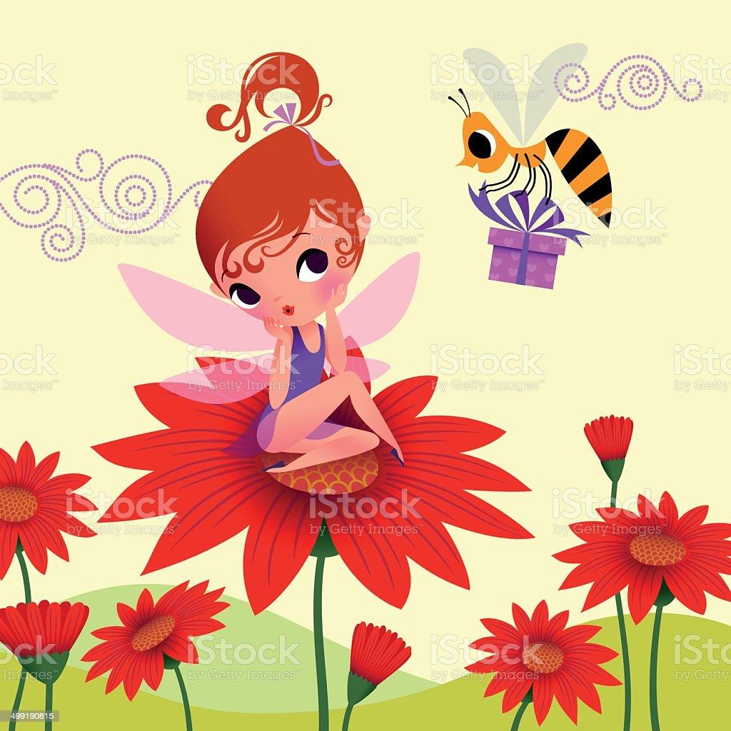 Elf's Birthday with Bee vector art illustration