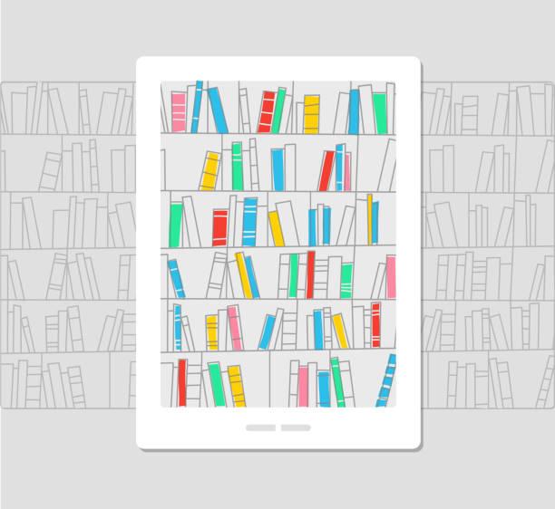 전자 도서관, 전자책, 개념 그림 - 책장 stock illustrations