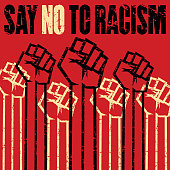 istock Eliminate racial discrimination, Say no to racism grunge multiple raised fists vector stock illustration. 1249144440