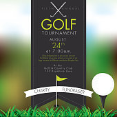 Vector illustration of an elite golf tournament invitation layout or poster advertisement design template.Green, dark gray color scheme.  Includes sample text design elements and golf tee, golf course and clubs background. Perfect for golf outing, tournament, golf course advertisement poster and charity sporting event. See my portfolio for other invitations and golf concepts.