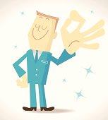 Vector illustration – Elite Man Gesturing OK.
