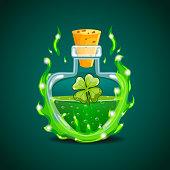 Elixir bottle with clover in magic smoke