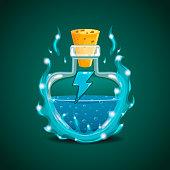 Elixir bottle with energy in magic smoke