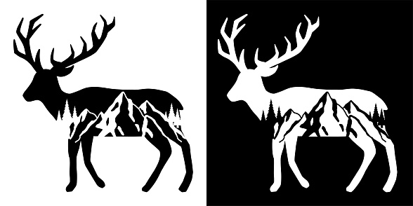 Elk and Mountains Trees Tattoo Design. Adventure and travel graphic For t shirt, greeting card or poster design Background Vector Illustration