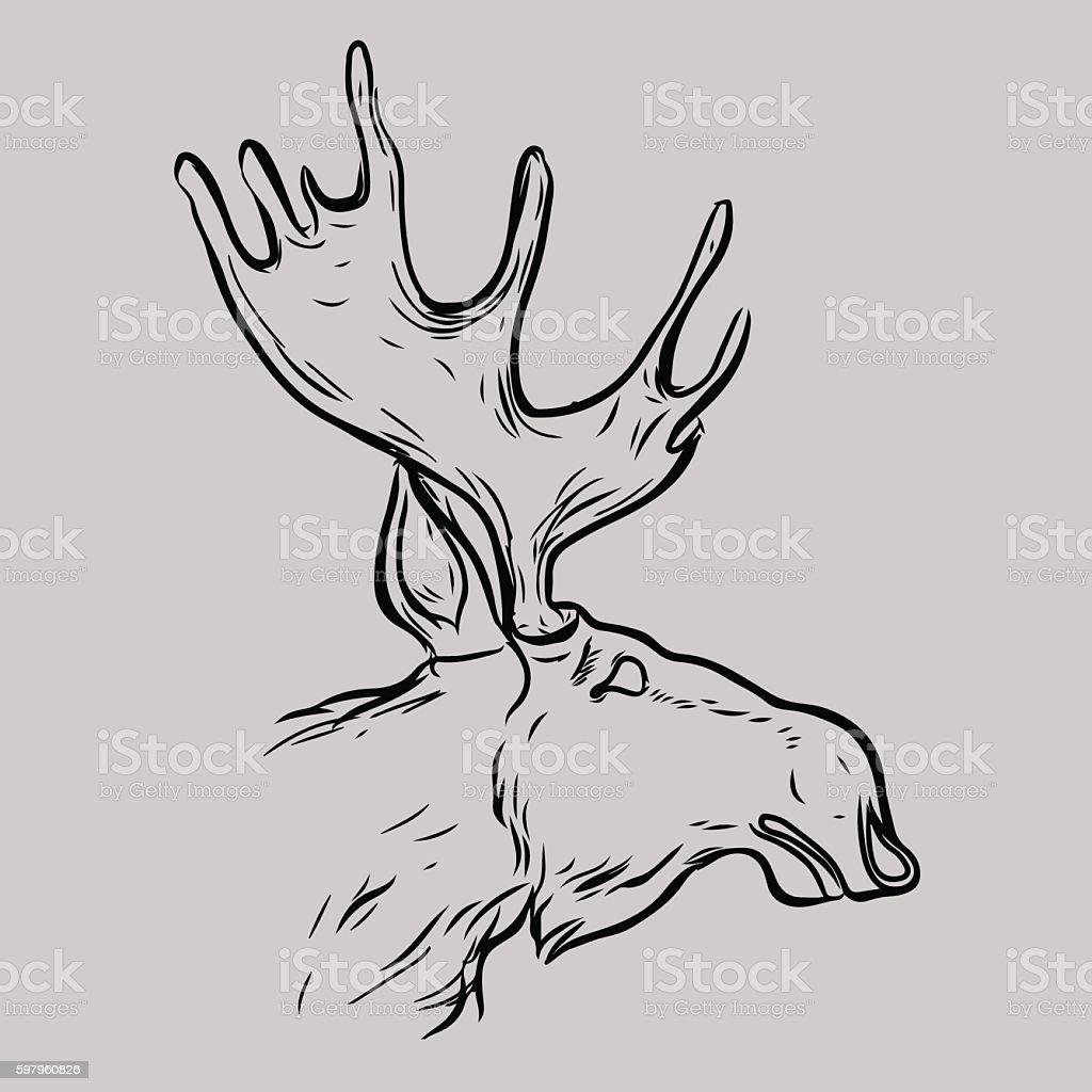 Elk Head Animal Symbol Stock Vector Art & More Images of Animal ...