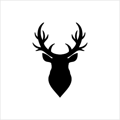 Elk head icon. Template logo design. Black vector silhouette of deers head with antlers isolated on white background. Christmas symbol. Vector illustration. EPS 10
