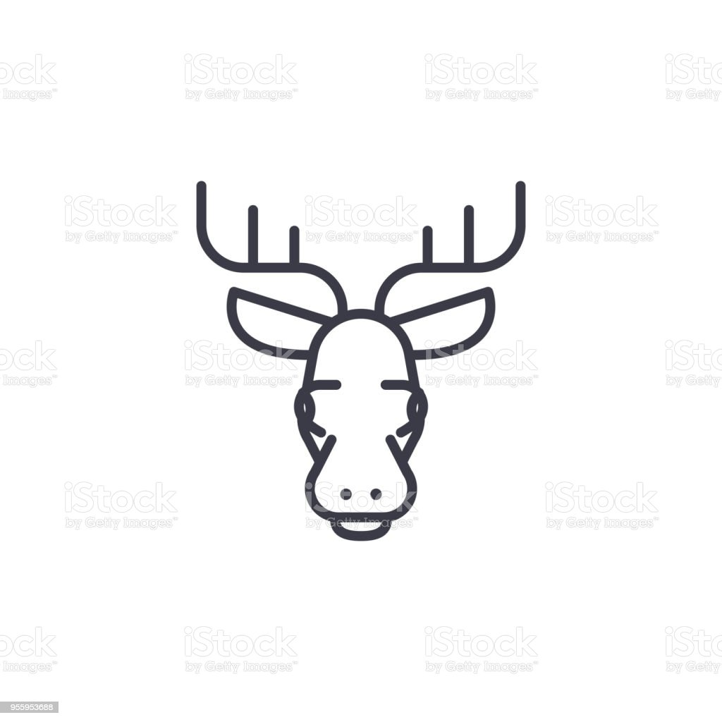 Elk Head Vector Line Icon Sign Illustration On Background Editable