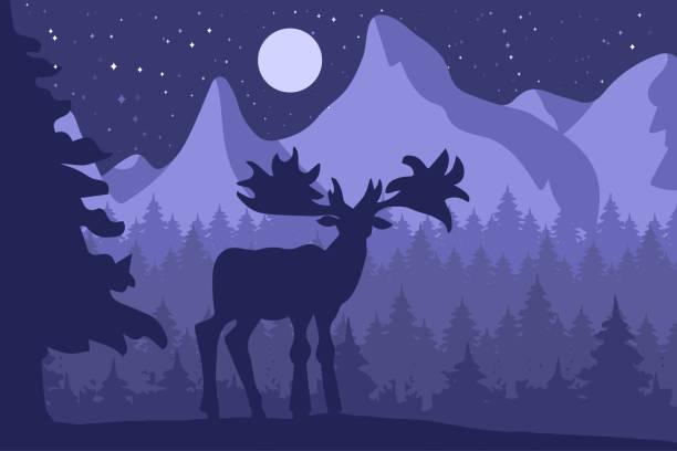 bildbanksillustrationer, clip art samt tecknat material och ikoner med älg i natt barrskogen nära bergen - älg sverige