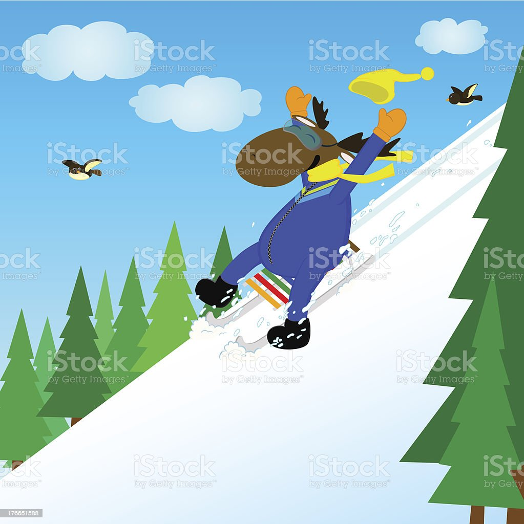 elk on a sled royalty-free stock vector art