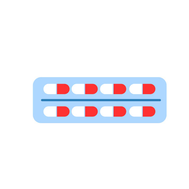 stockillustraties, clipart, cartoons en iconen met ellipse pillen in blister pakket geïsoleerd. platte stijl. antibioticatherapie. medicijnvitaminen. longontsteking en coronavirus behandeling. tablet drugs. gezondheidszorg en apotheek. webdesign. geneeskunde - doordrukstrip