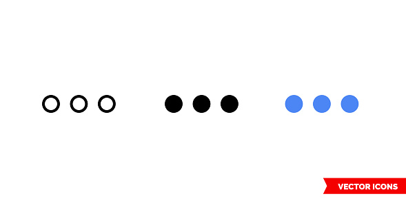Ellipsis icon of 3 types color, black and white, outline. Isolated vector sign symbol