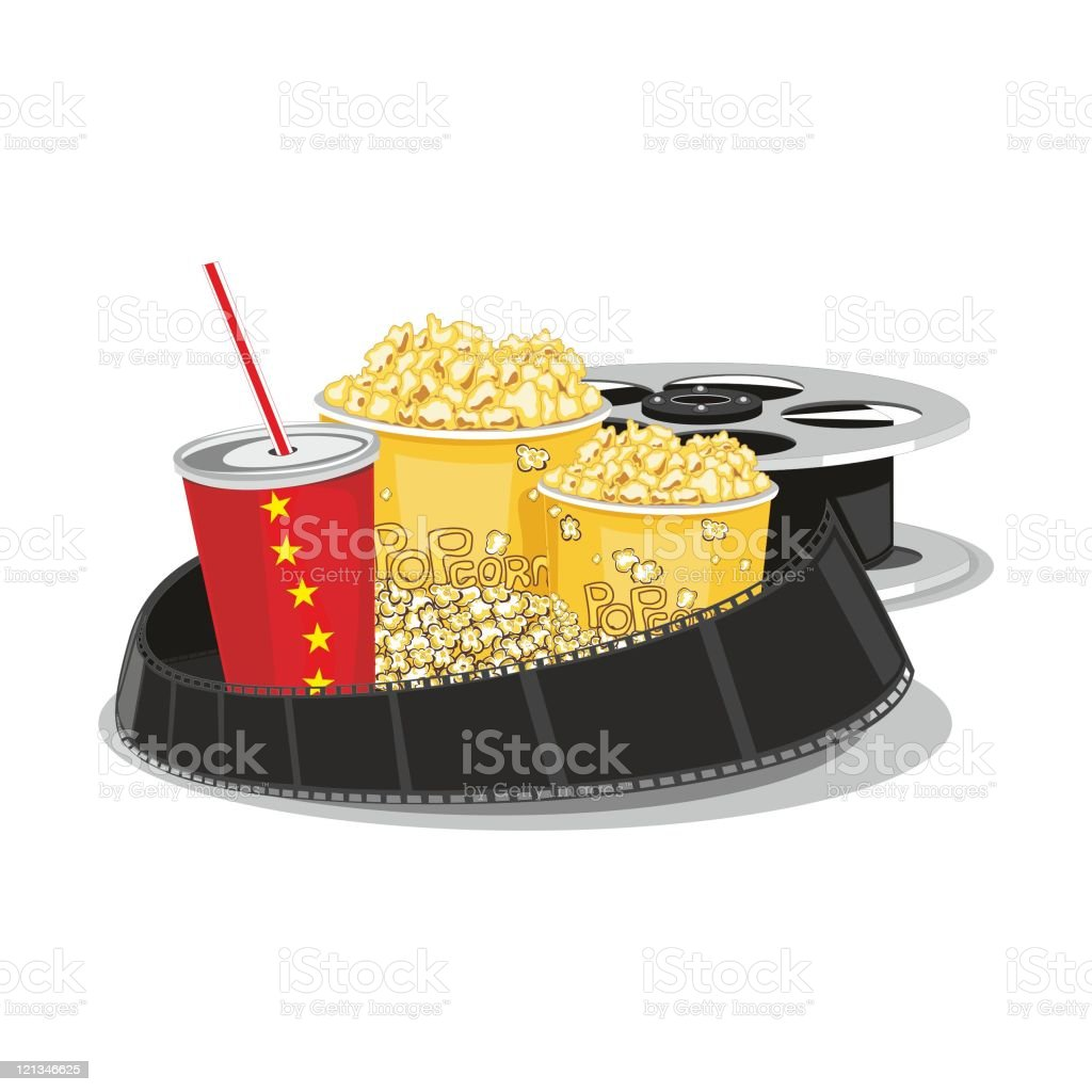 Сelluloid and popcorn royalty-free Сelluloid and popcorn stock vector art & more images of blue