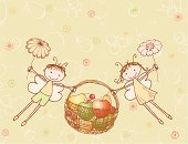 The vector image of a two cheerful elves with a basket of fruit.