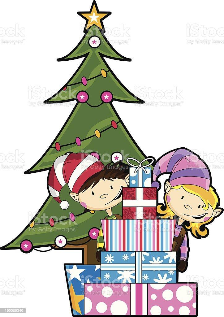 Elves Mit Weihnachtsbaum Geschenke Stock Vektor Art und mehr Bilder ...