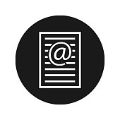 Email address page icon flat black round button vector illustration