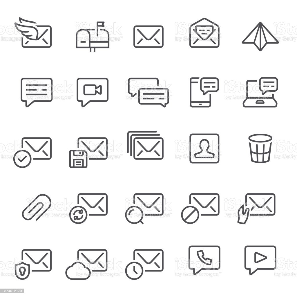 Email and Messaging Icons vector art illustration