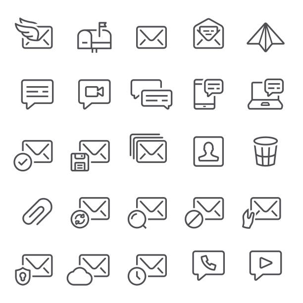 email and messaging icons - email icon stock illustrations, clip art, cartoons, & icons