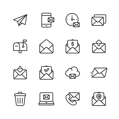 16 Email and Messaging Outline Icons.
