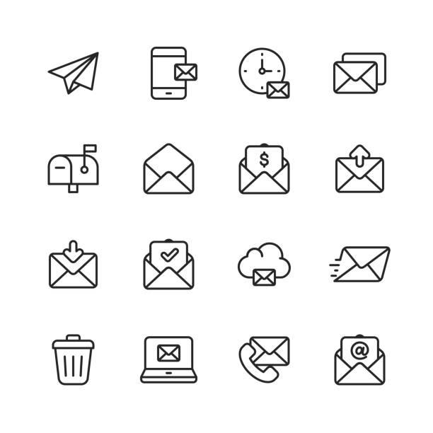 иконки линии электронной почты и сообщений. редактируемый ход. пиксель совершенный. для мобильных устройств и интернета. содержит такие зн� - сообщение stock illustrations