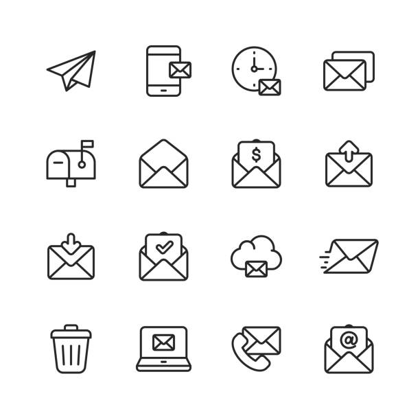 Email and Messaging Line Icons. Editable Stroke. Pixel Perfect. For Mobile and Web. Contains such icons as Email, Messaging, Text Messaging, Communication, Invitation, Speech Bubble, Online Chat, Office. vector art illustration