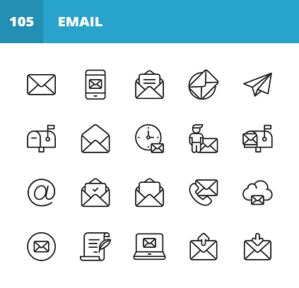 Email and Messaging Line Icons. Editable Stroke. Pixel Perfect. For Mobile and Web. Contains such icons as Email, Messaging, Text Messaging, Communication, Invitation, Speech Bubble, Online Chat, Office, Social Media, Remote Work, Work from Home.