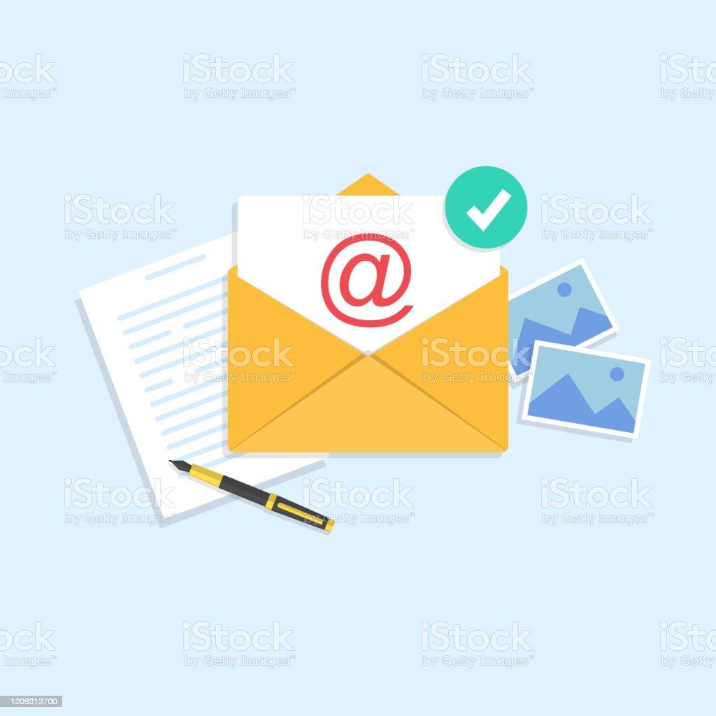 電子メールとメッセージング中に文字が入った黄色の封筒ボールペンと画像 Sendのベクターアート素材や画像を多数ご用意 Istock