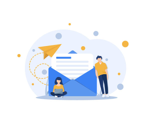 stockillustraties, clipart, cartoons en iconen met e-mail en messaging, e-mail marketingcampagne, werkend proces, nieuw e-mail bericht - versturen