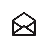 E-mail black icon on white background vector illustration for website, mobile application, presentation, infographic. Envelope with document concept sign. Message letter creative symbol.