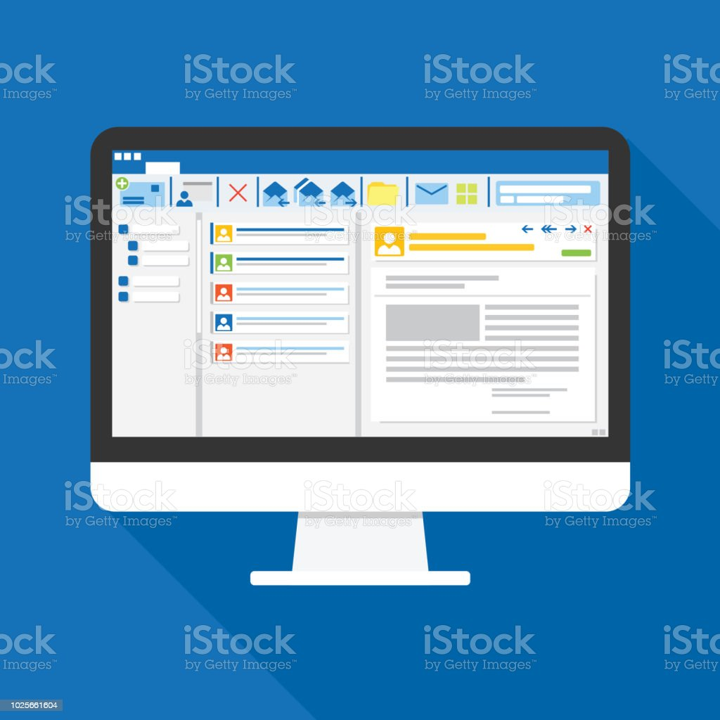 Email client software on Computer screen flat icon. business concept. office things for planning and accounting, analysis, audit, project management, marketing, research vector illustration. vector art illustration