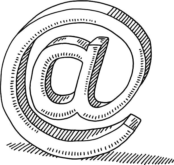 Email Communication Symbol Drawing Hand-drawn vector drawing of an Email Communication Symbol. Black-and-White sketch on a transparent background (.eps-file). Included files are EPS (v10) and Hi-Res JPG. email signs stock illustrations