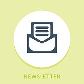 Curved Style Line Vector Icon for Newsletter.