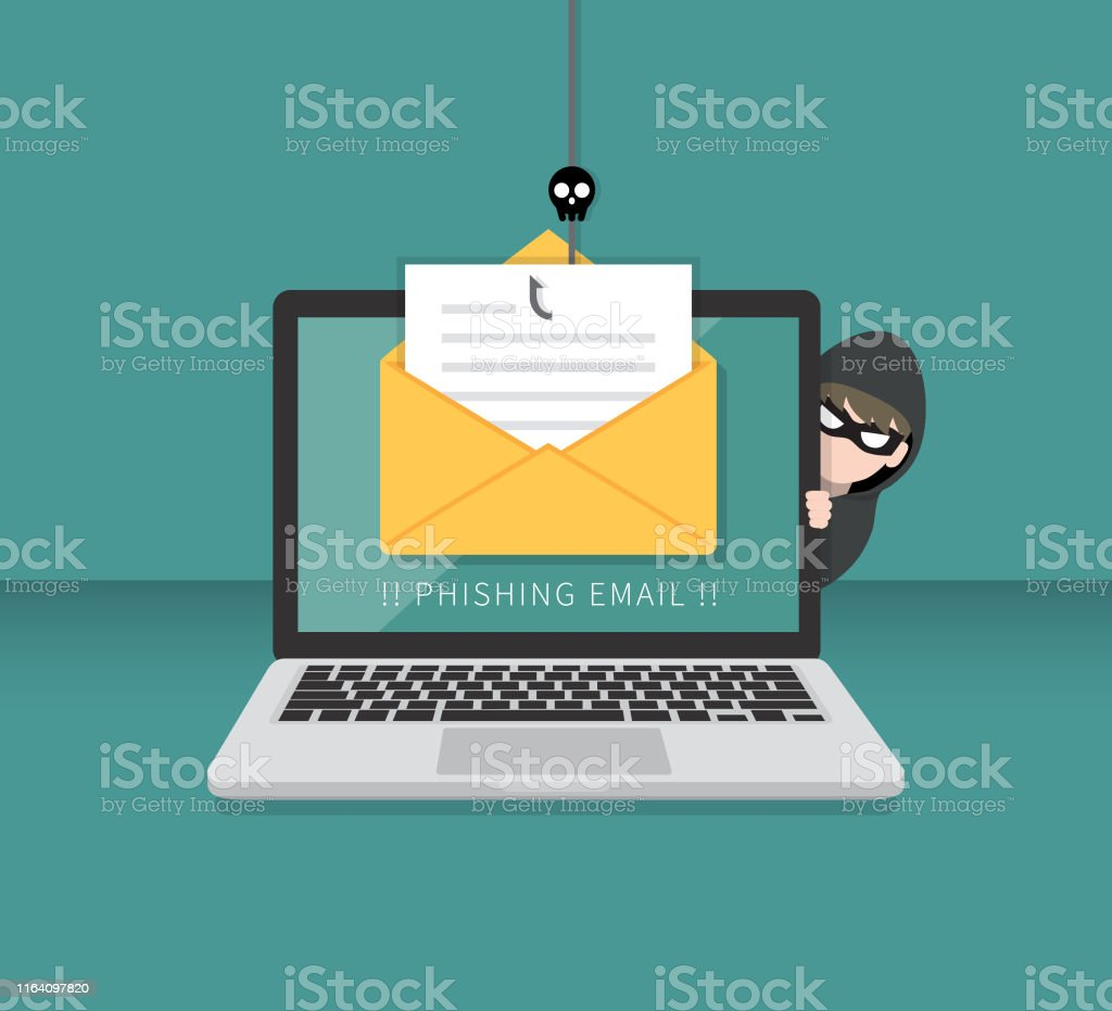 Email data phishing with cyber thief hide behind Laptop computer. Hacking concept. - arte vettoriale royalty-free di Anonymous - Rete di attivisti