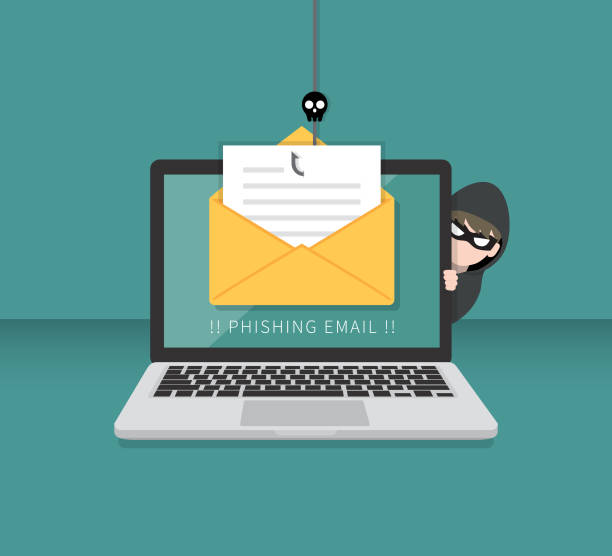 Email data phishing with cyber thief hide behind Laptop computer. Hacking concept. Email data phishing with cyber thief hide behind Laptop computer. Hacking concept. phishing stock illustrations
