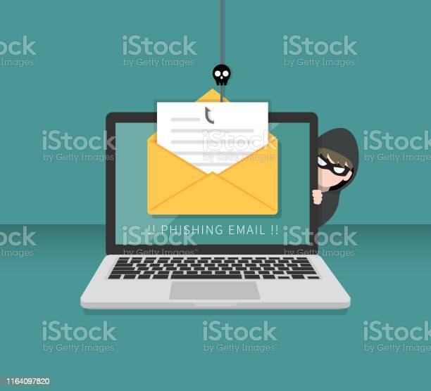 Email Data Phishing With Cyber Thief Hide Behind Laptop Computer Hacking Concept - Immagini vettoriali stock e altre immagini di Anonymous - Rete di attivisti