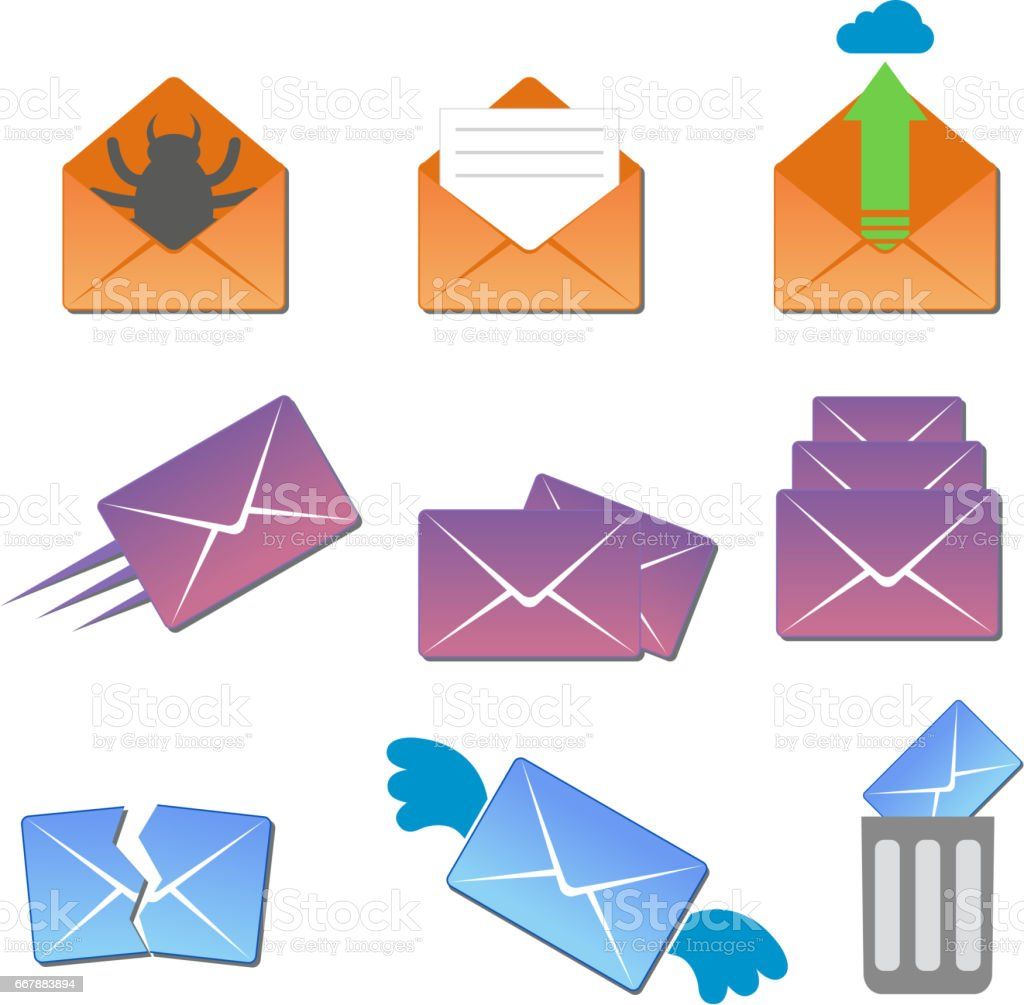 Email envelope cover icons communication and office correspondence blank cover address design paper empty card business writing message vector illustration royalty-free email envelope cover icons communication and office correspondence blank cover address design paper empty card business writing message vector illustration stock vector art & more images of alphabet