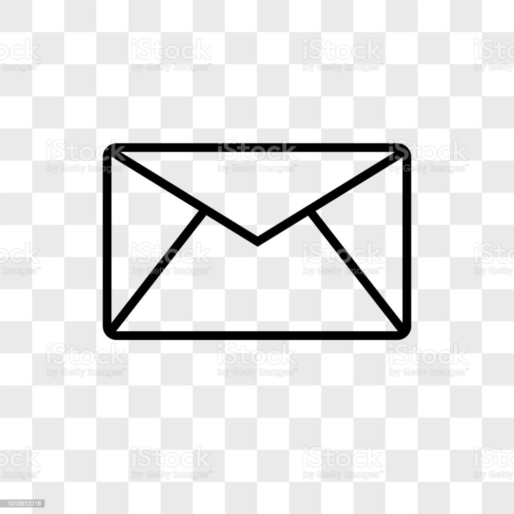 email envelope outline shape with rounded corners vector icon on
