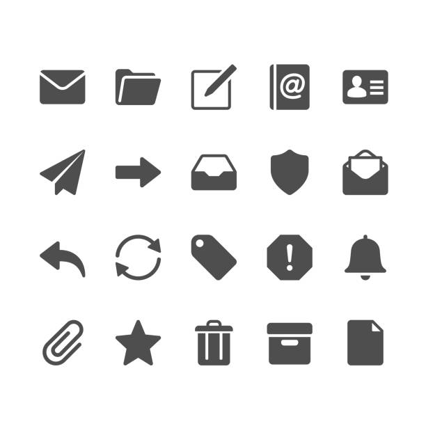 email glyph icons - folder stock illustrations, clip art, cartoons, & icons