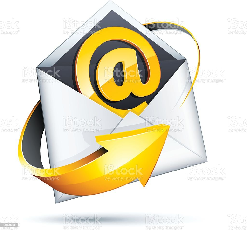 Email icon concept isolated on a white background royalty-free email icon concept isolated on a white background stock vector art & more images of 'at' symbol
