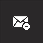 email icon. Filled email icon for website design and mobile, app development. email icon from filled email collection isolated on black background.