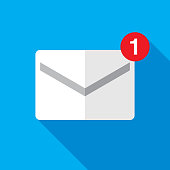 """Vector illustration of an envelope with a red """"1"""" against a blue background in flat style."""