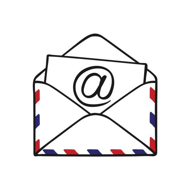 Courriel icône dessinés à la main. Croquis de doodle enveloppe ouverte, illustration vectorielle - Illustration vectorielle