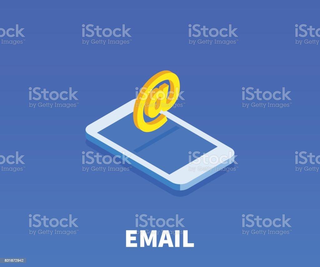 AT, icône d'Email, illustration, symbole vecteur dans un style 3D isométrique plat isolé sur fond de couleur. - Illustration vectorielle