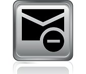 Illustration includes a gray, Email icon on a steel, square shape, grayscale button on a white background.