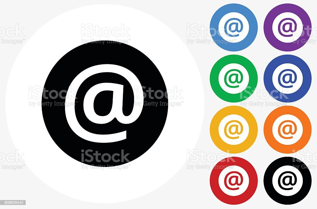 Email Icon on Flat Color Circle Buttons - Illustration vectorielle