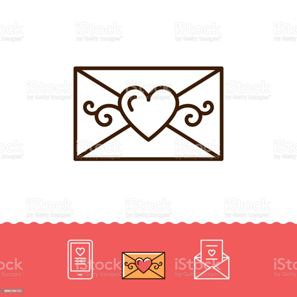 Email Icon Phone Sign Envelope Line Thin Symbol Love Sms Or Romantic