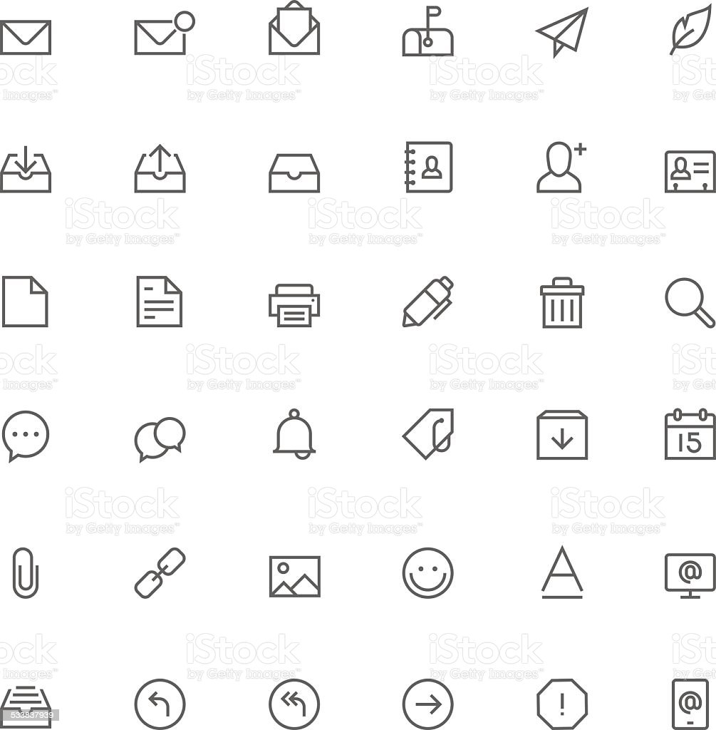 Email icon set vector art illustration