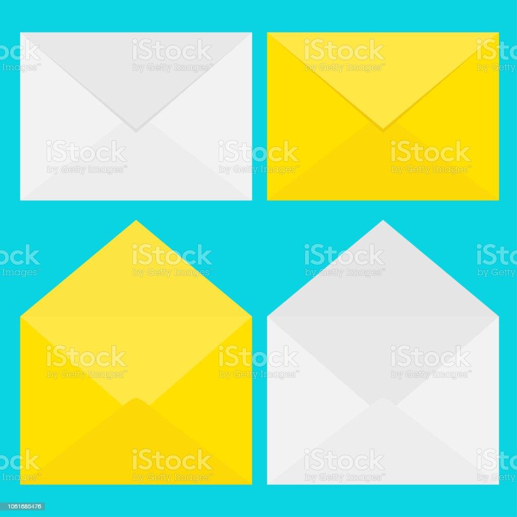 Emailsymbol Weiße Und Gelbe Papier Umschlag Set Briefvorlage Neue