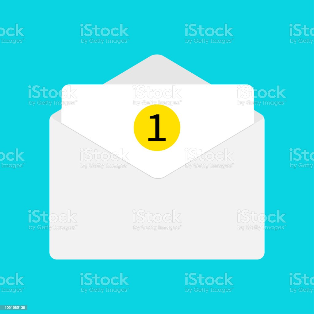 email icon white paper envelope open letter template new message