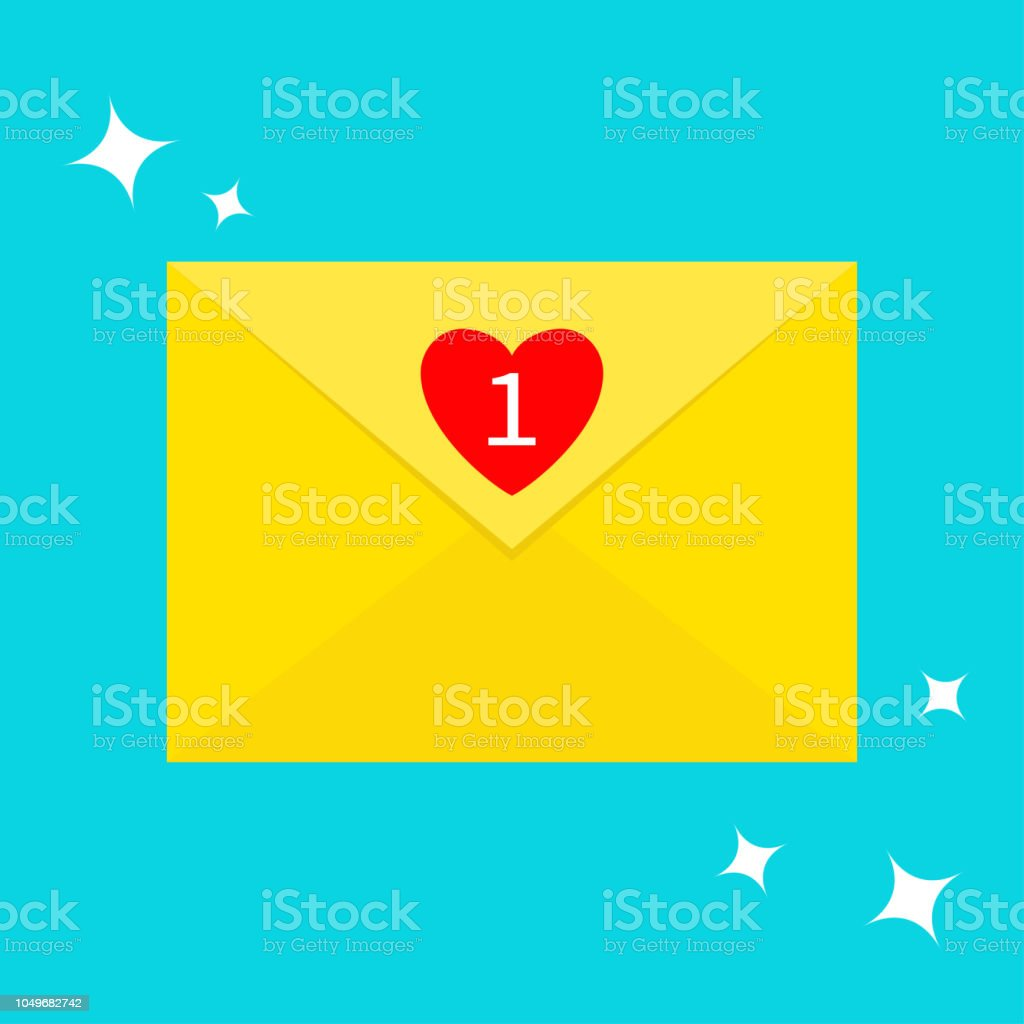 Email icon. Yellow paper envelope. Letter template. New message sign...